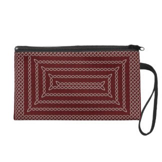 Silver And Red Celtic Rectangular Spiral Wristlet Clutches