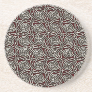 Silver And Red Celtic Spiral Knots Pattern Coaster