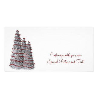Silver and Red Christmas Tree Holiday Photo Card