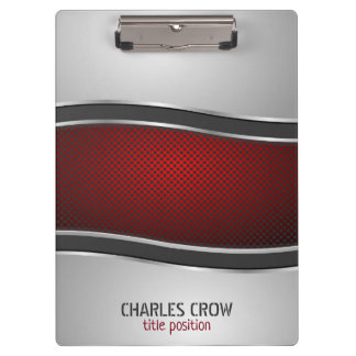 Silver And Red Metal With Dots Clipboard