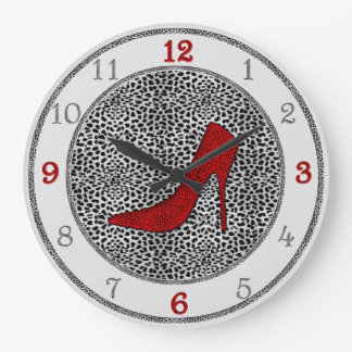 Silver and Red with Cheetah Animal Print Wall Clocks
