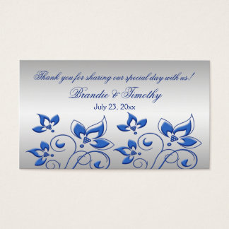 Silver and Royal Blue Floral Wedding Favor Tag