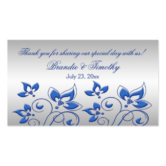 Silver and Royal Blue Floral Wedding Favor Tag Business Card