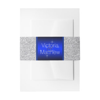 Silver and Royal Blue Wedding Invitation Belly Band