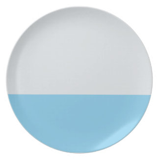 Silver and Sky Blue Striped Plate