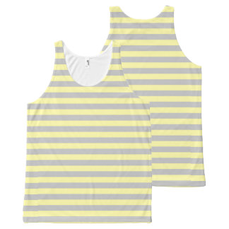 Silver and Soft Yellow Stripes All-Over-Print Tank Top