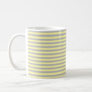 Silver and Soft Yellow Stripes Coffee Mug