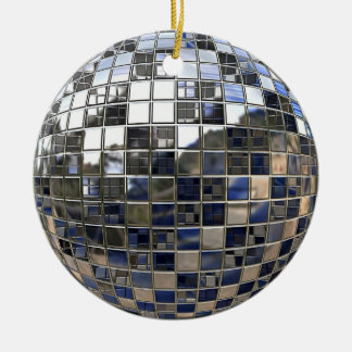Silver and some Blue Disco Ball Mirror Ornament