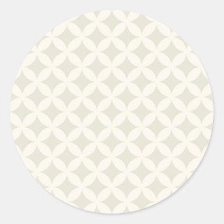 Silver and Tan Geocircle Design Round Sticker