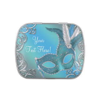 Silver and Teal Blue Masquerade Party Candy