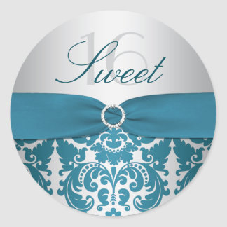 Silver and Teal Damask Sweet Sixteen Sticker