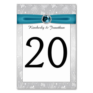 Silver and Teal Ribbon Gemstones Table Numbers Table Card