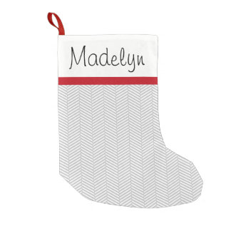 Silver and White Chevron Custom Name Small Christmas Stocking