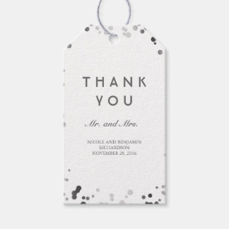 Silver and White Confetti Elegant Wedding Gift Tags