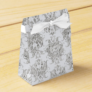Silver And White Damask Favor Box