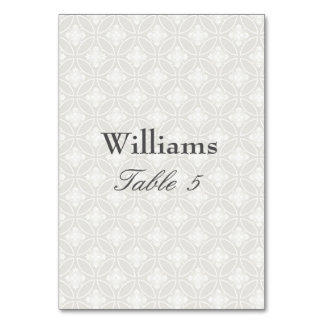 Silver and White Damask Print Pattern Card