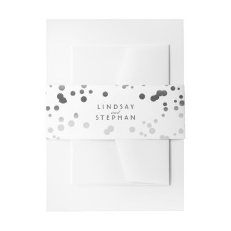 Silver and White Elegant Confetti Dots Wedding Invitation Belly Band