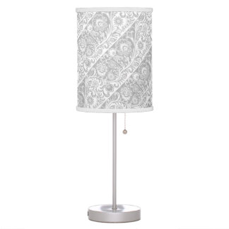 Silver and White Floral Design Lamp Shade