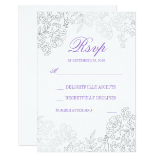 """Silver and White Floral Vintage Wedding RSVP Card 3.5"""" X 5"""" Invitation Card"""