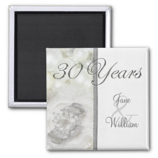 Silver and White Jewels 30th Wedding Anniversary Magnet