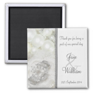 Silver and White Jewels Wedding Favor / Favour Magnet