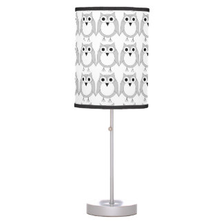 Silver And White Owl Table Lamp