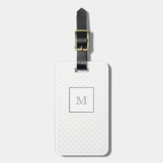 Silver and White Polka Dot Luggage Tag