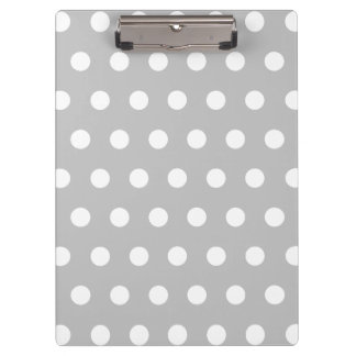 Silver and White Polka Dots Clipboard