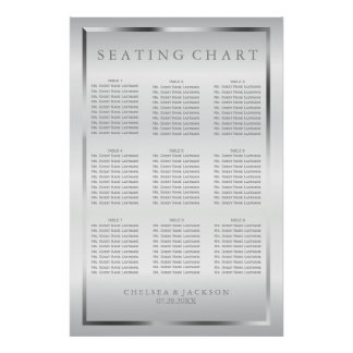 Silver and White Satin - 9 Seating Chart Poster