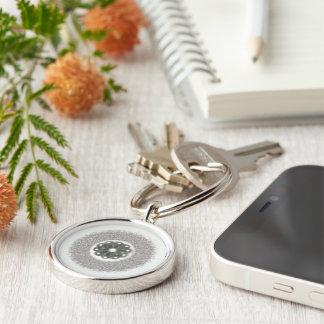 Silver and White Starburst Keychain