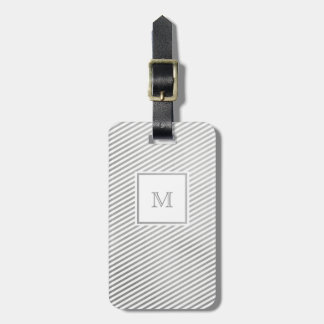 Silver and White Striped Luggage Tag