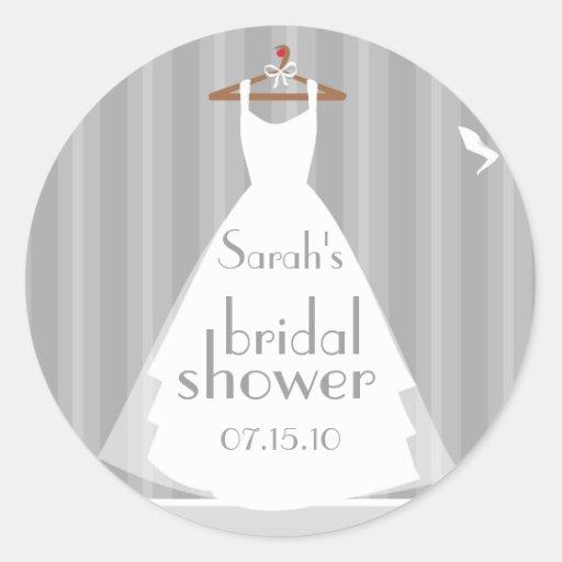 Silver And White Wedding Dress Bridal Shower Round Sticker