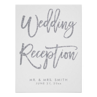Silver And White Wedding Reception Sign Print