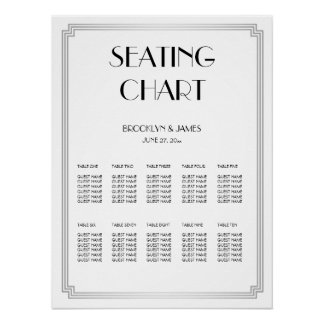 Silver And White Wedding Seating Chart Poster