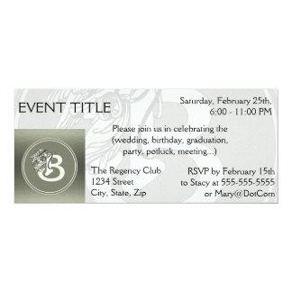 "Silver Angel Monogram Letter B 4"" X 9.25"" Invitation Card"