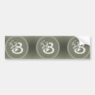 Silver Angel Monogram Letter B Bumper Sticker
