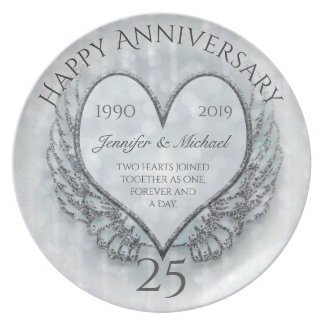 Silver Angel Wings and Heart Plate