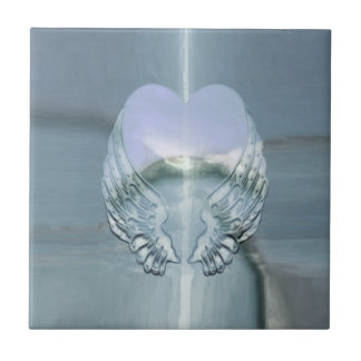Silver Angel Wings Wrapped Around a Heart Tiles