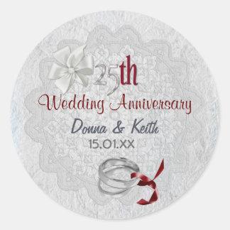 Silver Anniversary Classic Round Sticker
