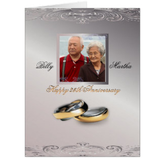 Silver Anniversary Custom Personalized Photo Card
