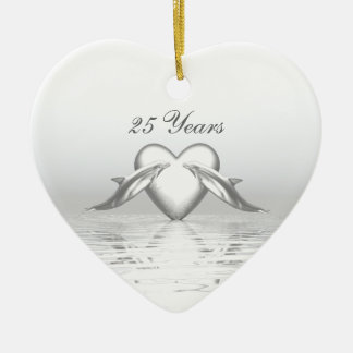 Silver Anniversary Dolphins and Heart Ceramic Ornament