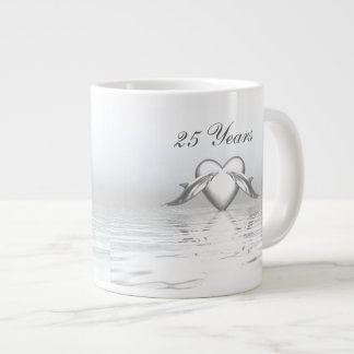 Silver Anniversary Dolphins and Heart Large Coffee Mug
