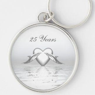 Silver Anniversary Dolphins and Heart Silver-Colored Round Keychain