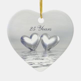 Silver Anniversary Hearts Ceramic Heart Ornament