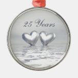 Silver Anniversary Hearts Christmas Ornaments