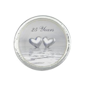 Silver Anniversary Hearts Photo Ring
