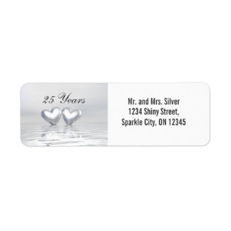 Silver Anniversary Hearts Return Address Label