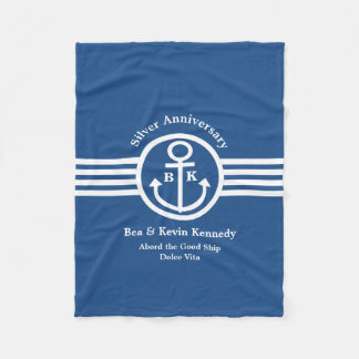 Silver Anniversary Nautical Yacht Owner's Gift Fleece Blanket