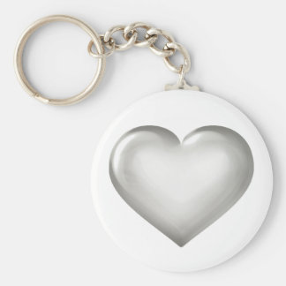 Silver Anniversary - Silver Glass Heart Keychain