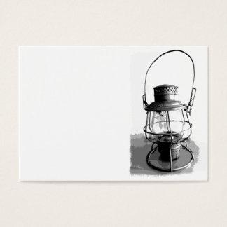 Silver Antique Railroad Lantern Business Card
